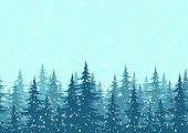 Seamless background, Christmas trees with snow poster