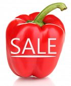 Sale concept. Tasty pepper isolated on white