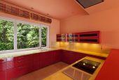 interior of a empty villa, domestic kitchen