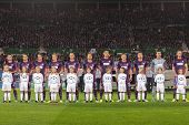 VIENNA, AUSTRIA - SEPTEMBER 18 The team of FK Austria Wien during the national anthem before a UEFA Champions League game on September 18, 2013 in Vienna, Austria.