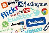 Belgrade - May 04, 2014 Popular Social Media Website Logos On Personal Computer Screen