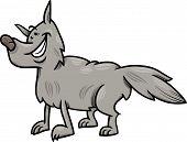 Gray Wolf Animal Cartoon Illustration