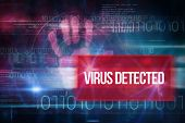 The word virus detected and pink technology hand print interface design against blue technology desi