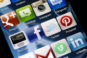 Belgrade - June 17, 2014 Popular Social Media Icons On Smart Phone Screen