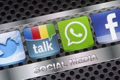 Belgrade - August 30, 2014 Social Media Icons Twitter, Whatsapp, Facebook, And Google Talk On Smart