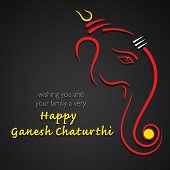 picture of ganesh  - happy ganesh chaturthi festival greeting card background vector - JPG