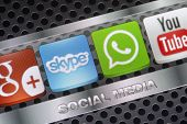 Belgrade - August 30, 2014 Social Media Icons Whatsapp, Skype And Other On Smart Phone Screen Close