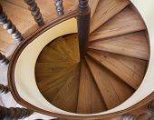 pic of spiral staircase  - Spiral staircase view from above abstract architecture - JPG