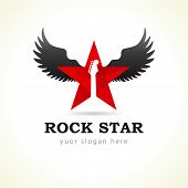 Rock star flying logo