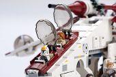 Ankara, Turkey - April 24, 2014: Lego Star Wars Republic Gunship cockpit and ball gun turrets