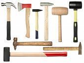 Various hammers and ax isolated on white