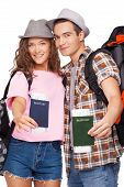 Attractive couple with passports