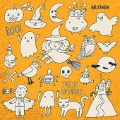 Cute Halloween set in vector. A lot of scary holiday symbols in beautiful cartoon style