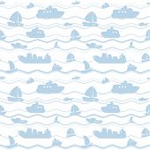 Child seamless pattern with boats