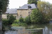 stock photo of water-mill  - water mill in a village of La Sarthe - JPG