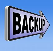 Backup data and software on copy in the cloud on a harddrive disk on a computer or server for flie security. Moving and transfering documents to external copies.