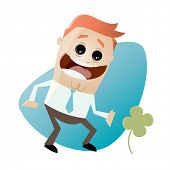 funny businessman with clover