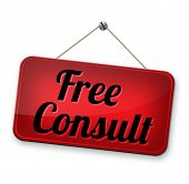 ree advice and gratis consultation for customers. Consult icon or sign.