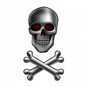 metal skull with crossed bones