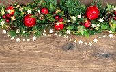 Christmas Decorations Garland With Red Apple And Green Pine Branches