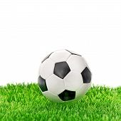 Soccer Ball On Green Grass Over White