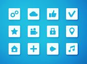 Vector illustration of apps icon set over blurry background.