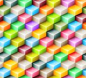 Vector geometric seamless pattern with bright colored cubes
