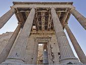 unusual view of ancient greek building Athens acropolis