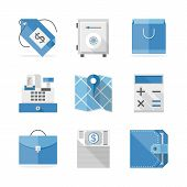 Commerce And Finance Flat Icons Set