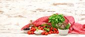Tomatoes, Basil, Herbs, Mozzarella And Olive Oil. Food Background