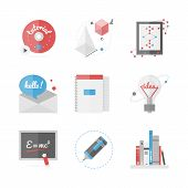 High School Education Flat Icons Set
