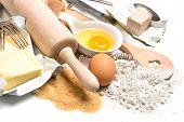 Baking Ingredients Eggs, Flour, Sugar, Butter, Yeast