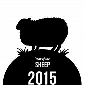 2015 New Year Card With Sheep Silhouette.