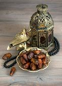Dates, Arabic Lamps And Rosary