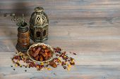 Raisins And Dates. Vintage Oriental Latern And Mill