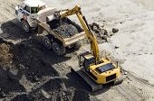 Excavator digger & truck doing ground works