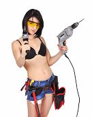 Girl With Two Electric Drill