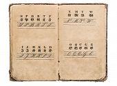 Antique Alphabet Book. Vintage Fonts. Education Concept