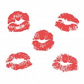 Set of vector lipstick marks