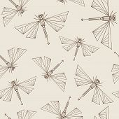Seamless Pattern With Abstract Dragonflies