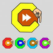 Multimedia Sign Icon. Player Navigation Symbol. Set Colour Buttons. Vector