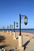 Lanterns on the promenade of the Red Sea in Egypt