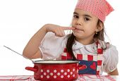 image of ladle  - girl pretending to cook in a pot with ladle - JPG
