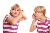 image of hearing  - Girl shouting to her girlfriend because she can - JPG