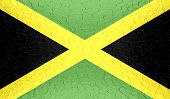 Jamaica flag on metallic metal texture