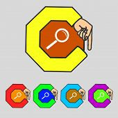 Magnifier Glass Sign Icon. Zoom Tool Button. Navigation Search Symbol. Set Colourful Buttons. Vector