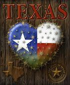 picture of texas map  - Digital Painting of a heart shaped prickly pear cactus with the Texas flag map my own custom Seal - JPG