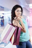 Indian Girl With Shopping Bags