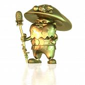 stock photo of fairy-mushroom  - Golden fairy gnome mushroom - JPG