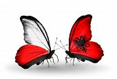 Two Butterflies With Flags On Wings As Symbol Of Relations Poland And Albania